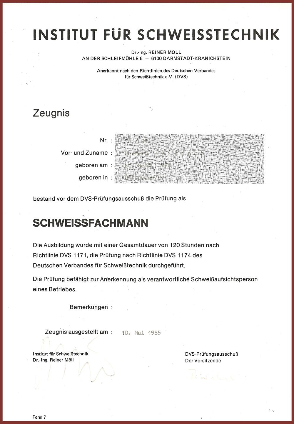 Urkunde-Schweißfachmann
